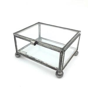 Vintage glazen doosje metaal - Metaal schorsing en glazen ...
