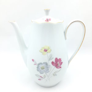 Vintage theepot wit bloemen L