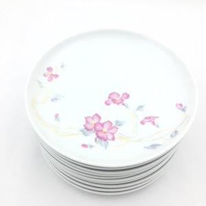 Set van 10 ontbijt-/ gebaksborden wit bloemen