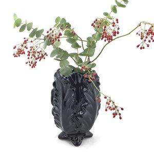 Vaas / Bloempot zwart bladeren | Sprinkel + Hop