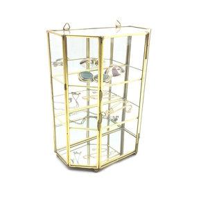 Kleine Glazen Vitrinekastjes.Vintage Glazen Mini Vitrinekastje Messing Sprinkel Hop