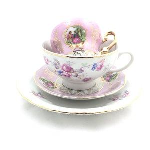 Vintage porseleinen Thun en Marie Antoinette kop en schotel - roze | Sprinkel + Hop