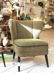 Vintage groen zwart gestreept stoffen cocktailstoel | Sprinkel + Hop