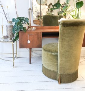 Vintage opberg stoel groen velours