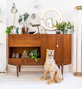 Vintage teak houten wandkast highboard | Sprinkel + Hop