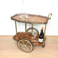 Vintage sierlijke theewagen serveerwagen messing hout | Sprinkel + Hop