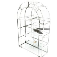 Zilverkleurige glazen vitrinekastje metaal | Sprinkel + Hop